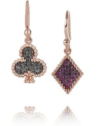 Diane Kordas - Metallic Club and Diamond 18karat Rose Gold Diamond and Sapphire Earrings - Lyst