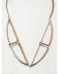 Free People | Metallic Bentuk V Bronze Necklace | Lyst