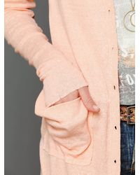 Free People - Pink Ribbed Up Maxi Cardigan - Lyst