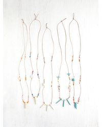 Free People - Blue Skull Charm Necklace - Lyst