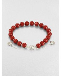 Gucci   Red San Valentino Wood & Sterling Silver Beaded Bracelet   Lyst