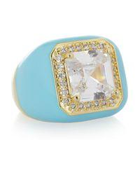 Kenneth Jay Lane   Blue Enameled 18karat Goldplated Cubic Zirconia Ring   Lyst