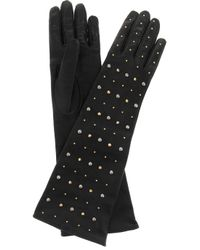 Miu Miu | Black Studded Leather Gloves | Lyst