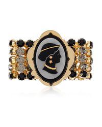 Miu Miu | Metallic Goldplated Crystal Cameo Bracelet | Lyst