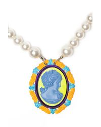 Tom Binns | Blue Cameo Jobim Pearl Necklace | Lyst