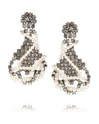 Tom Binns - White Regal Rocker Swarovski Crystal and Crystal Pearl Earrings - Lyst