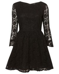 TOPSHOP | Black Crochet Lace Flippy Dress | Lyst