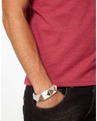 ASOS - Metallic Asos Pyramid Bracelet for Men - Lyst