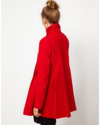 ASOS Collection - Red Asos Pleat Swing Front Coat - Lyst