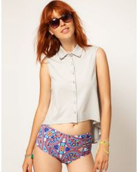 Shae | White Asos Collar Tip Cotton Trapeze Top | Lyst