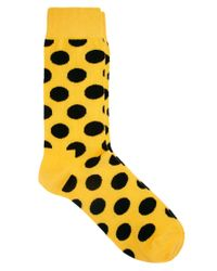 Happy Socks - Yellow Big Dot Socks for Men - Lyst