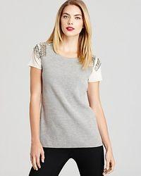 Sachin & Babi   Beige Sweater Embellished Pinnacle Short Sleeve   Lyst