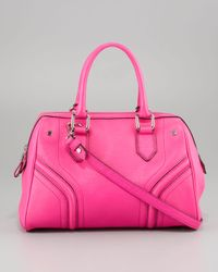 MILLY - Pink Zoey Pebbled Leather Satchel Bag - Lyst