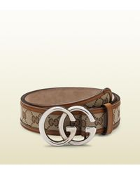 a36ed74fe8d Lyst - Gucci Original Gg Canvas Belt with Double G Buckle in Natural ...