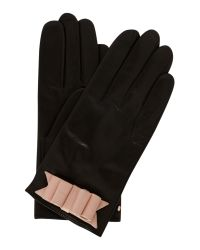 Ted Baker - Black Bow Detail Leather Glove - Lyst
