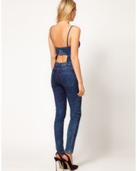 ASOS Collection - Blue Asos Sexy Bandeau Jumpsuit in Denim - Lyst