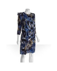 BCBGMAXAZRIA - Multicolor Blue Printed Threequarter Length Sleeve Dominique Dress - Lyst