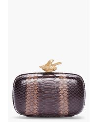 Givenchy   Brown Python Leather Box Clutch   Lyst