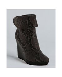 Jimmy Choo | Gray Grey Snake Embossed Leather Briant Wedge Booties | Lyst