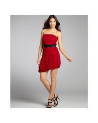 Vera Wang Lavender | Red Asymmetric Bubble-hem Dress | Lyst