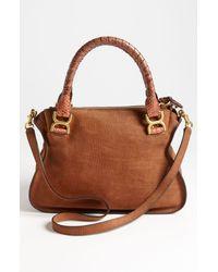 Chloé   Brown Marcie Small Nubuck Leather Genuine Python Satchel   Lyst