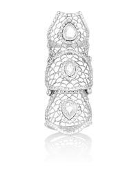 Loree Rodkin - Metallic 18karat Rhodium White Gold Diamond Armor Ring - Lyst