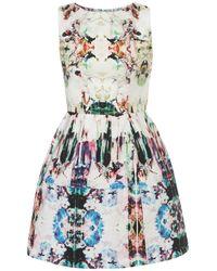 TOPSHOP - Multicolor Camo Print Lantern Dress - Lyst