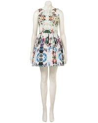 TOPSHOP | Multicolor Camo Print Lantern Dress | Lyst