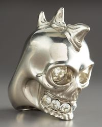 Alexander McQueen - Metallic Shark Teeth Skull Ring - Lyst