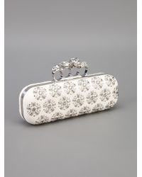 Alexander McQueen | White Printed Knuckle Ring Clutch | Lyst