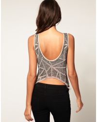 ASOS | Gray Vest With Diamond Embellished Dipped Back | Lyst