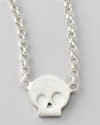 Dogeared | Metallic Silver Whisper Skull Pendant Necklace | Lyst