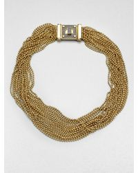 Michael Kors | Metallic Multistrand Bead Necklace | Lyst
