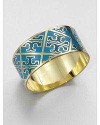 Tory Burch - Blue Enamel Logo Pattern Cuff Bracelet - Lyst