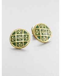 Tory Burch | Green Enamel Logo Pattern Stud Earrings | Lyst