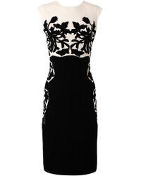 Bottega Veneta   White Silk Dress with Velvet Applique   Lyst