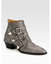 Chloé | Gray Studded Leather Buckle Ankle Boots | Lyst