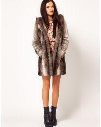 River Island - Gray Maxi Faux Fur Coat with Hood - Lyst