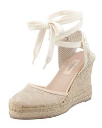 Valentino - Natural Lacecovered Espadrille Wedge Nude - Lyst