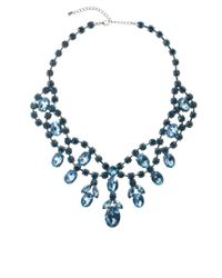 ASOS - Blue Premium Jewelled Bib Necklace - Lyst