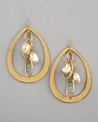 Devon Leigh - Metallic Pearl Turquoise Drop Earrings - Lyst