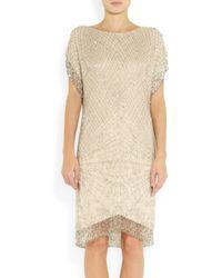 Matthew Williamson | Gold Swarovski Crystal Embellished Silk Chiffon Dress | Lyst