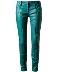 Balmain | Blue Leather Biker Trousers | Lyst