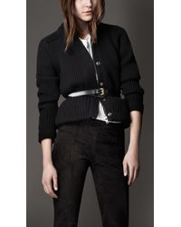 Burberry | Black Merino Wool Peplum Jacket | Lyst