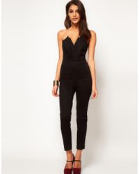 ASOS | Black Jumpsuit With Pleat Bust Origami Detail | Lyst