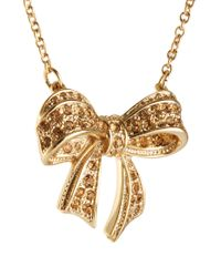Ted Baker   Metallic Pave Crystal Bow Necklace   Lyst