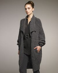 Donna Karan | Gray Shawl Collar Knit Jacket | Lyst