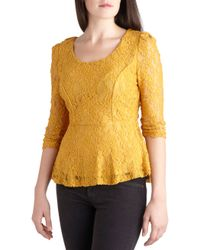 ModCloth | Yellow Amaize in Lace Top | Lyst