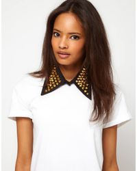 ASOS - Black Stud Collar - Lyst