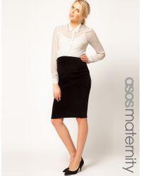 ASOS Black Velvet Pencil Skirt